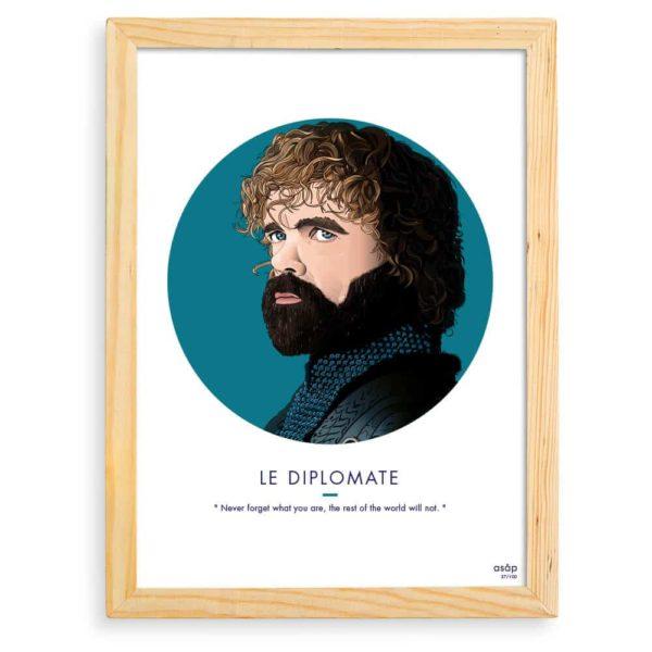 Affiche ASAP Tyrion Lannister Bleu Citation Cadre brut