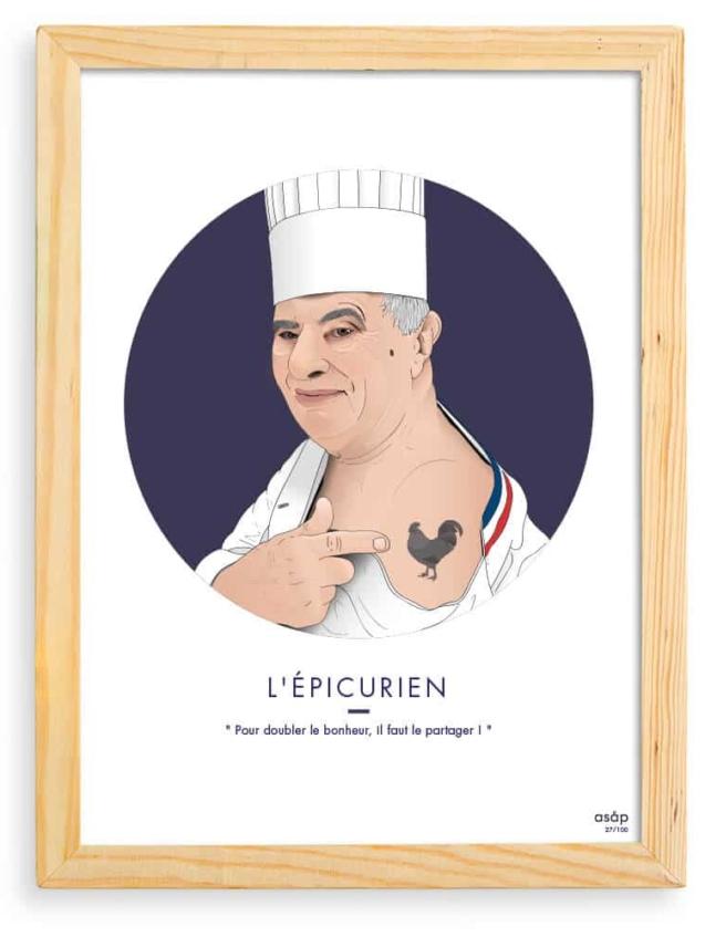 Affiche Paul Bocuse ASAP Bleu Citation Cadre brut