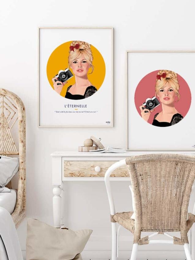Affiche ASAP Brigitte Bardot Jaune et Rose