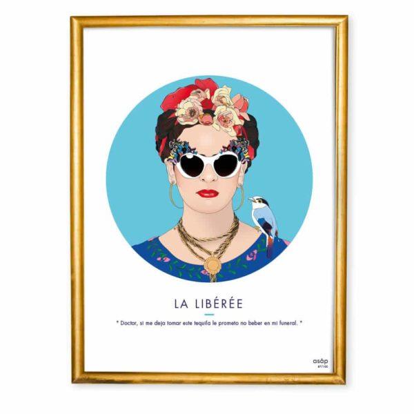 Affiche ASAP Frida Kahlo Bleu Citation Cadre doré