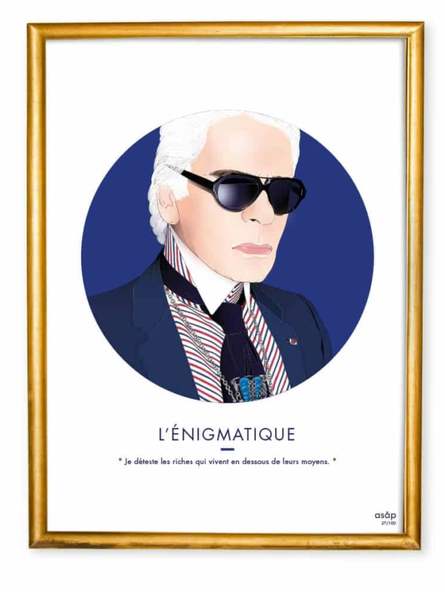 Affiche ASAP Karl Lagerfeld Bleu Citation Cadre doré
