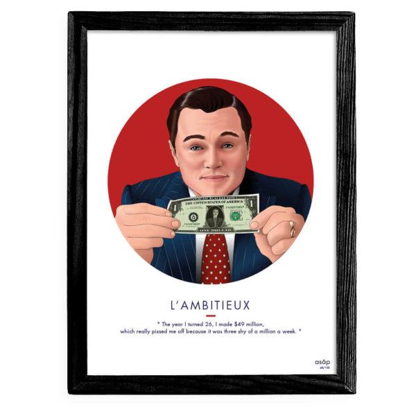 Affiche ASAP Loup de Wall Street Rouge Citation Cadre noir